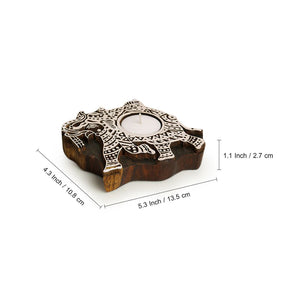 """Dazzling Elephant"" Hand-Carved Block Tea-Light Holder In Sheesham Wood"
