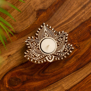 """Luminous Lotus"" Hand-Carved Block Tea-Light Holder"
