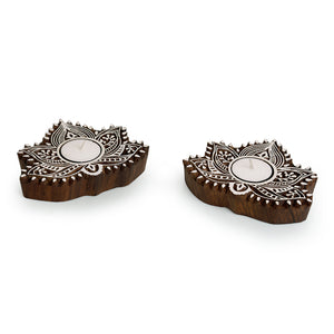 """Luminous Lotus"" Hand-Carved Blocks Tea-Light Holders In Sheesham Wood (Set of 2)"