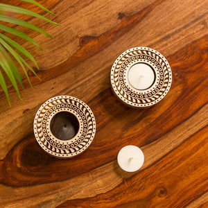 """Sparkling Mandala"" Hand-Carved Blocks Tea-Light Holders In Sheesham Wood (Set of 2)"