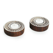 "Load image into Gallery viewer, ""Sparkling Mandala"" Hand-Carved Blocks Tea-Light Holders In Sheesham Wood (Set of 2)"