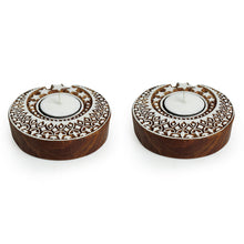 "Load image into Gallery viewer, ""Shimmering Moon"" Hand-Carved Blocks Tea-Light Holders In Sheesham Wood (Set of 2)"
