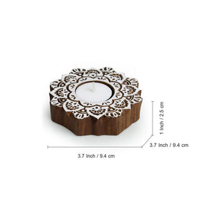 """Lustrous Flower"" Hand-Carved Blocks Tea-Light Holders In Sheesham Wood (Set of 2)"