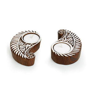 """Gleaming Paisley"" Hand-Carved Blocks Tea-Light Holders In Sheesham Wood (Set of 2)"