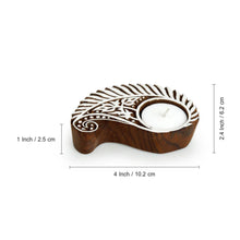 "Load image into Gallery viewer, ""Gleaming Paisley"" Hand-Carved Blocks Tea-Light Holders In Sheesham Wood (Set of 2)"