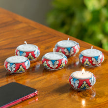 "Load image into Gallery viewer, ""Shimmering Mughals"" Floral Hand-painted Tea-Light Holders In Ceramic (Set of 6)"