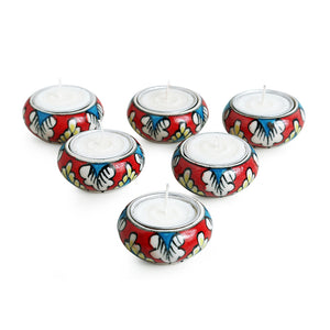 """Shimmering Mughals"" Floral Hand-painted Tea-Light Holders In Ceramic (Set of 6)"