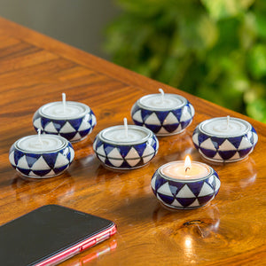 """Shimmering Mughals"" Geometric Hand-painted Tea-Light Holders In Ceramic (Set of 6)"