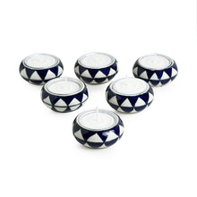 "Load image into Gallery viewer, ""Shimmering Mughals"" Geometric Hand-painted Tea-Light Holders In Ceramic (Set of 6)"