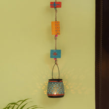 Load image into Gallery viewer, 'Oasis Radiance' Hand-Painted Hanging Tea-Light Holder In Iron (Turquoise Blue)