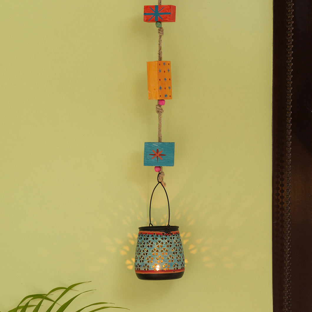 'Oasis Radiance' Hand-Painted Hanging Tea-Light Holder In Iron (Turquoise Blue)