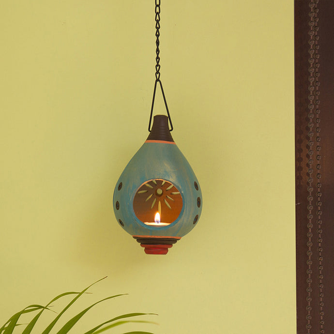 'Oasis Shankh' Hand-Painted Hanging Tea-Light Holder In Terracotta