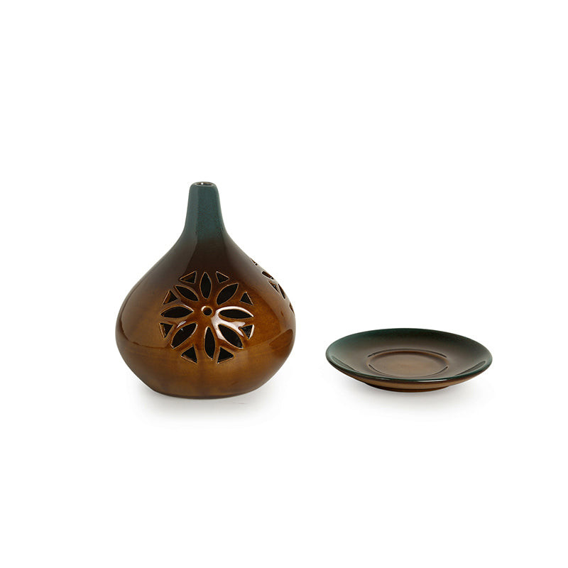 'Amber & Teal' Studio Pottery Table Tea-Light Holder In Ceramic