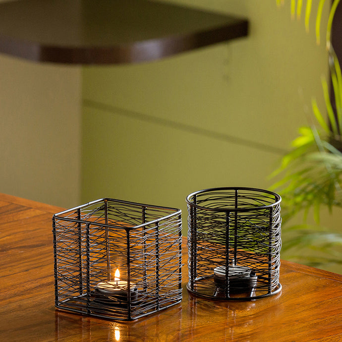Glowing Mesh Duo Handwired Table Tea-Light Holders In Iron (Set of 2)