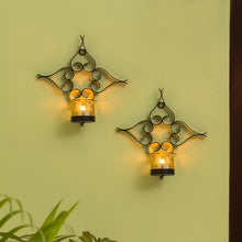 Load image into Gallery viewer, Glowing Flowers Handcrafted Wall Sconce Tea-Light Holders In Iron (Set of 2)