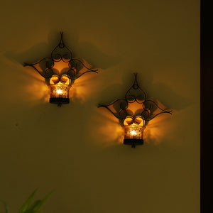 Glowing Flowers Handcrafted Wall Sconce Tea-Light Holders In Iron (Set of 2)