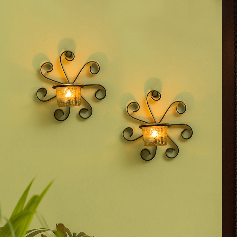 Glowing Ferns Handcrafted Wall Sconce Tea Light Holders In Iron With G Exclusivelane