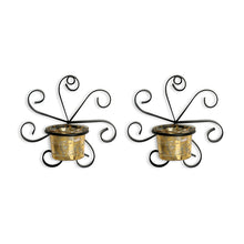 Load image into Gallery viewer, Glowing Ferns Handcrafted Wall Sconce Tea Light Holders In Iron With Glass Holders (Set of 2)