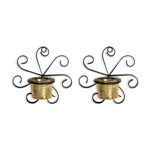 Glowing Ferns Handcrafted Wall Sconce Tea Light Holders In Iron With Glass Holders (Set of 2)