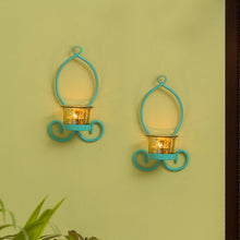 Load image into Gallery viewer, Glowing Curved Handcrafted Wall Sconce Tea-Light Holders In Iron (Set of 2)