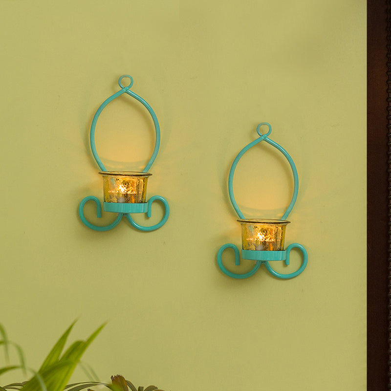 Glowing Curved Handcrafted Wall Sconce Tea-Light Holders In Iron (Set of 2)