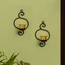 Load image into Gallery viewer, Gleaming Curved Handcrafted Wall Sconce Tea-Light Holders In Iron (Set of 2)