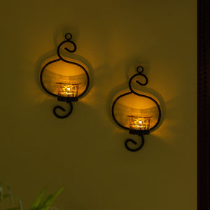 Gleaming Curved Handcrafted Wall Sconce Tea-Light Holders In Iron (Set of 2)