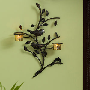 Birds On Branch Handcrafted Wall Sconce Tea Light Holder In Iron With Glass Holders