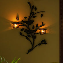 Load image into Gallery viewer, Birds On Branch Handcrafted Wall Sconce Tea Light Holder In Iron With Glass Holders