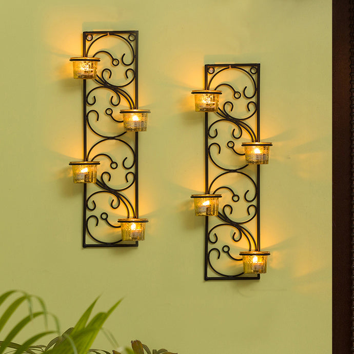 Glowing Vines Handcrafted Wall Sconce Tea Light Holders In Iron With Glass Holders (Set of 2)
