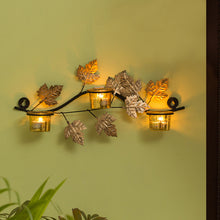 Load image into Gallery viewer, Glowing Maples Handcrafted Wall Sconce Tea Light Holder In Iron With Glass Holders