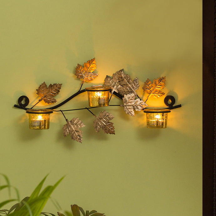 Glowing Maples Handcrafted Wall Sconce Tea Light Holder In Iron With Glass Holders