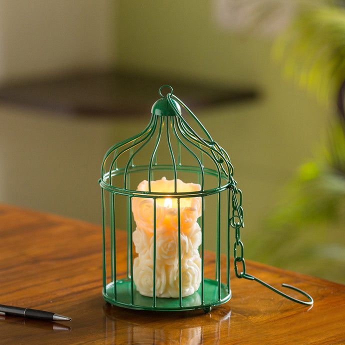 Green Enclosure Handcrafted Birdcage Table & Hanging Candle Holder In Iron