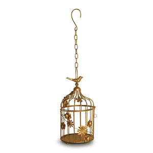 Bronze Birdie Handcrafted Birdcage Table & Hanging Candle Holder In Iron