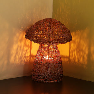 'The Mushroom Mesh' Handwoven Showpiece & Table Tea-Light Holder In Iron (10 Inch, Copper Finish)