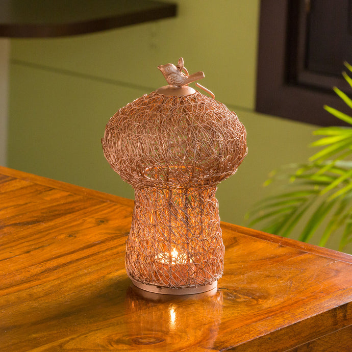 'The Dome Mesh' Handwoven Showpiece Cum Hanging & Table Tea-Light Holder In Iron (9 Inch, Copper Finish)