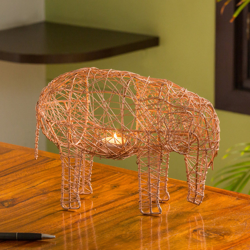 'The Elephant Mesh' Handwoven Showpiece & Table Tea-Light Holder In Iron (9 Inch, Copper Finish)