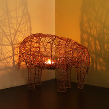 Load image into Gallery viewer, 'The Elephant Mesh' Handwoven Showpiece & Table Tea-Light Holder In Iron (9 Inch, Copper Finish)