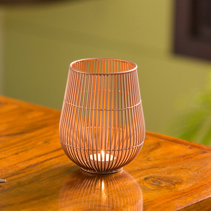 'The Wired Tulip' Handwired Table Tea-Light Holder In Iron (6 Inch, Copper Finish)