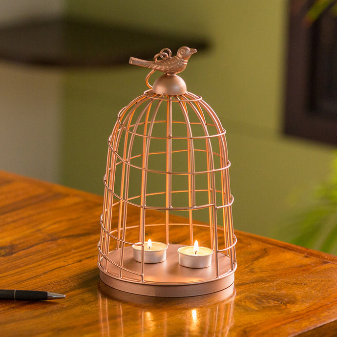 'The Gleaming Bird' Handwired Hanging & Table Tea-Light Holder In Iron (11 Inch, Copper Finish)