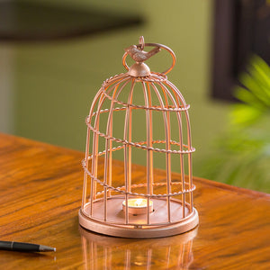 'The Bird Wired Go-Round' Handwired Hanging & Table Tea-Light Holder In Iron (9 Inch, Copper Finish)