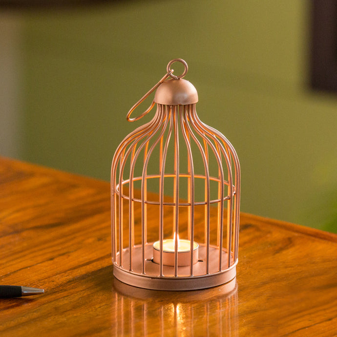 'The Small Wonder' Handwired Hanging & Table Tea-Light Holder In Iron (8 Inch, Copper Finish)