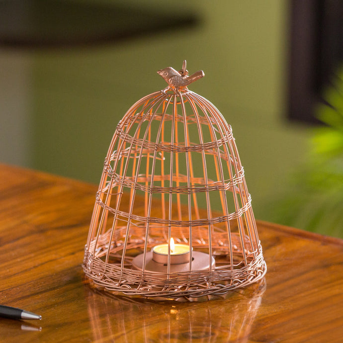 'The Wired Conicals' Handwired Hanging & Table Tea-Light Holder In Iron (9 Inch, Copper Finish)