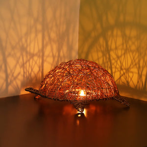 'The Turtle Mesh' Handwoven Showpiece & Table Tea-Light Holder In Iron (Copper Finish)