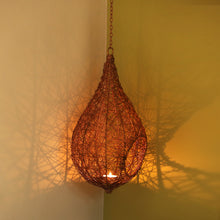 Load image into Gallery viewer, 'Weaver Bird Mesh House' Handwoven Hanging Tea-Light Holder In Iron (15 Inch, Copper Finish)
