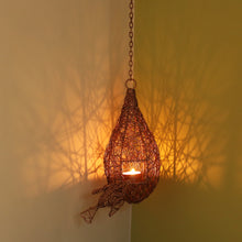 Load image into Gallery viewer, 'Weaver Bird Mesh Nest' Handwoven Hanging Tea-Light Holder In Iron (11 Inch, Copper Finish)