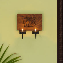 Load image into Gallery viewer, 'The Elephant Warriors' Hand Carved Wall Tea-Light Holder In Sheesham Wood (2 Hooks)