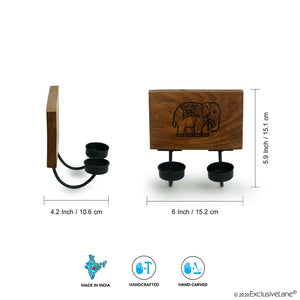 'The Elephant Warriors' Hand Carved Wall Tea-Light Holder In Sheesham Wood (2 Hooks)