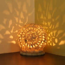 Load image into Gallery viewer, 'The Glowing Mughal Floral' Hand Carved Table Tea-Light Holder In Soapstone (4 Inch)