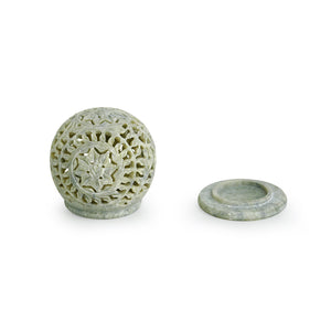 'The Glowing Mughal Floral' Hand Carved Table Tea-Light Holder In Soapstone (4 Inch)